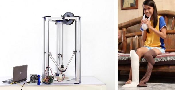 慶應大・FabLab Kannai とFabLab Boholの共創によって制作された、義足制作用デルタ型3Dプリンター(左図)と、その3Dプリンターで制作された義足を持ち笑顔のフィリピン人女性(右図)